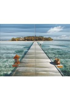 Tubądzin Obraz ścienny 6-elementowy Maxima azure 1 89,8x67,3